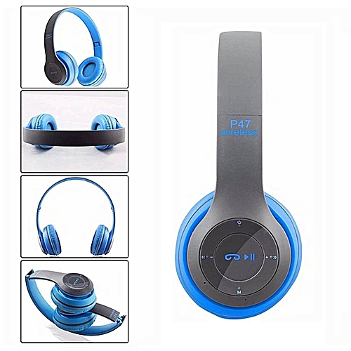 P47 Bluetooth 4.2 Headphone Wireless  Earphone Hands Free Music Headset-Blue