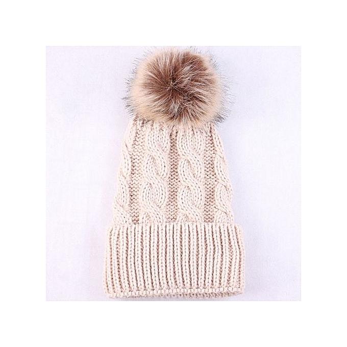 dbc1d8e262f Wenrenmok Store Women Fashion Keep Warm Winter Hats Knitted Wool Hemming  Hat-Beige