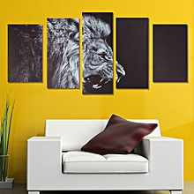 5Pcs Black Lion Animal Print Oil Painting Wall Art Home Decor HD Canvas No Frame