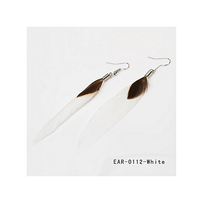 Fashion Jewelry Women S Trendy Eardrop Goose Feather Dangle Earrings 12 Colors Ear