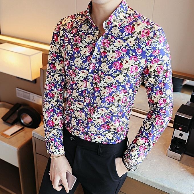 76baea430fd4 Men Floral Squar Collar Slim Long Sleeve Shirt Tops
