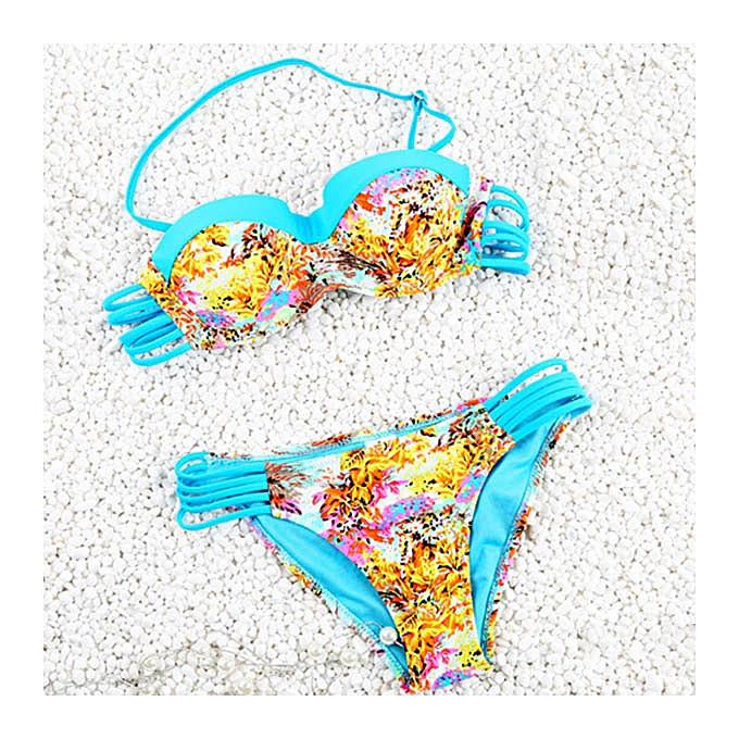 08c696d98cdf Vintage Halter Hollow Out Flower Print Bikini Set For Women