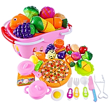 32Pcs Funny Children Pretend & Play Toy Emulational Vegetables Fruits Cutting Kitchenware Set for Kids - Pink