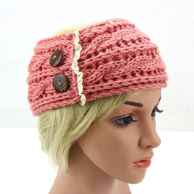 Eissely Women Crochet Headband Botton Knit Winter Headwrap Ear