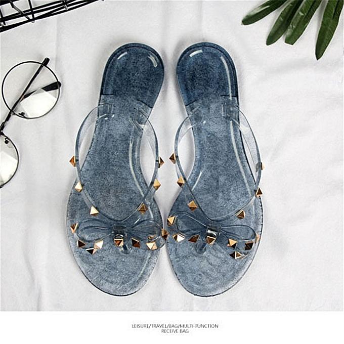 83521a91 Women Studded Rivet Jelly Slippers Bow Flip Flop Sandals Beach Flat Thong  Shoes