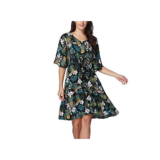 b8c517543457 Technologg Dress Women s Boho Button UP Split Floral Print Flowy Party Dress  -Black