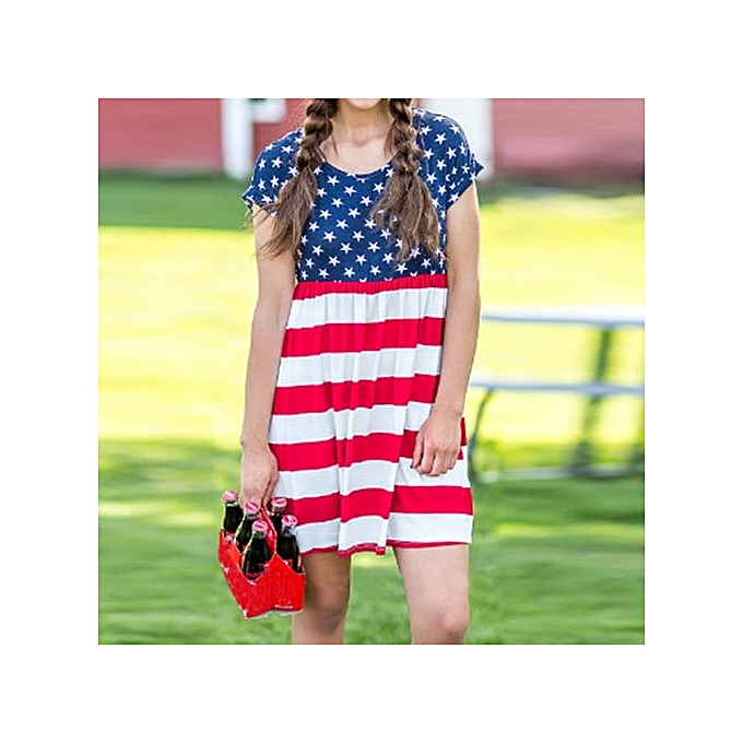 Womens Print American Flag Sexy Short Sleeve Mini Dress