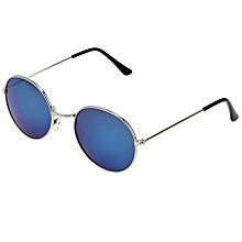 Oval Retro Uv400 Uv Protection Metal Frame Ac Lens Sunglasses (silver + Blue)