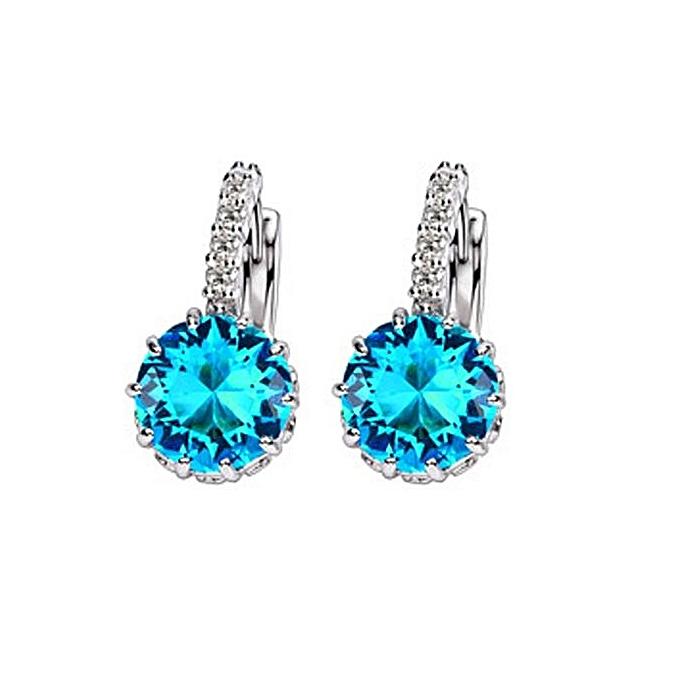 925 Sterling Silver Earrings Bright Austrian Crystal Blue Danube Elegant Fashion Female Ear Clasp
