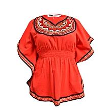 Red Short Sleeved Women's African Top