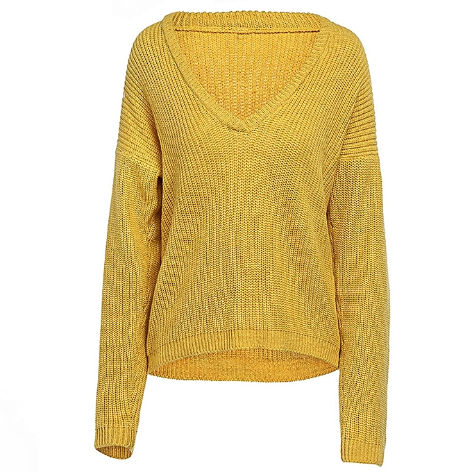 e3fc0f29f229ce ... jiuhap store Women Casual Deep V Neck Knitted Sweater Jumper Tops Long  Sleeve Pullover-Yellow ...