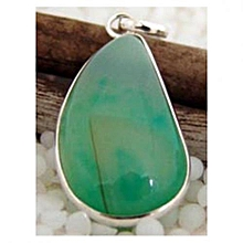 Light Green Agate with Green Specks Semi Precious Gemstone in 925' Sterling Silver Pendant