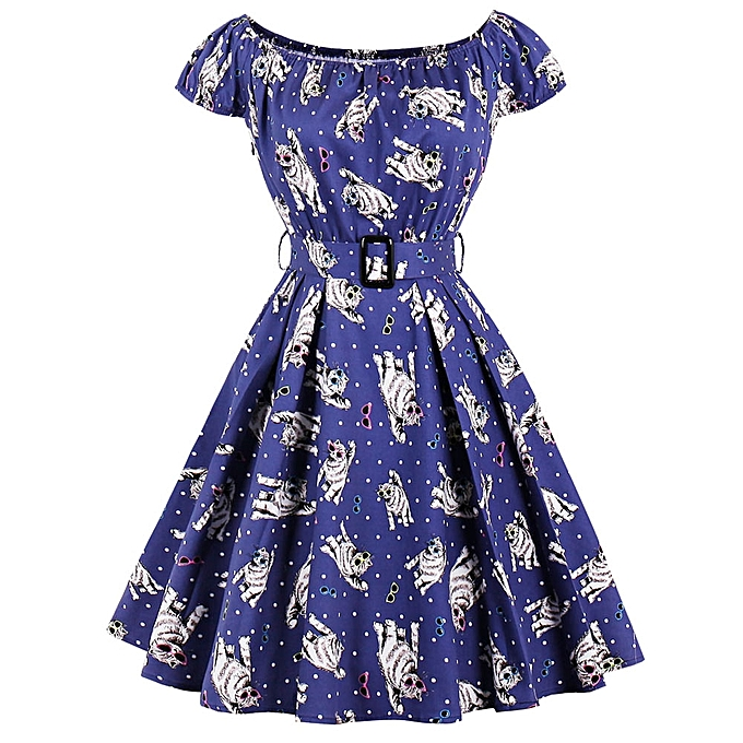 Buy Zaful Plus Size Vintage Swing Dress Blue Best Price Online