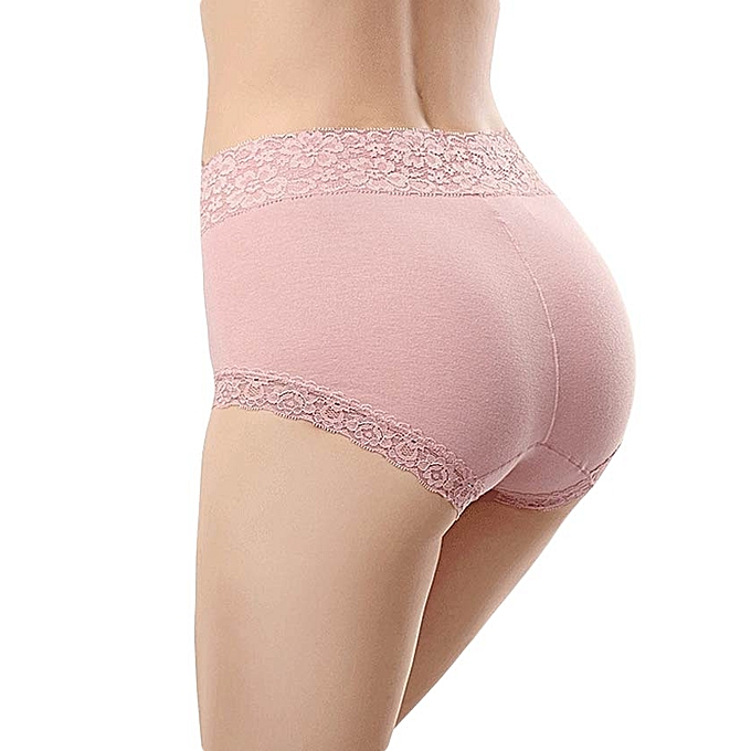 8893380dc3 Lace high waist underwear women no trace large size comfortable breathable  cotton briefs-pink