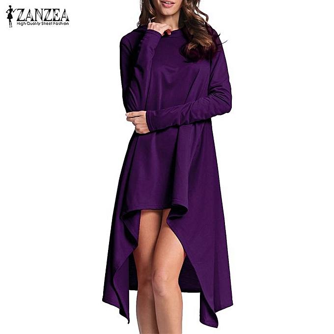 f51c765c60b2 ZANZEA Women Long Sleeve Hooded Loose Casual Asymmetrical Hem Dress Hoodies  Sweats (Purple)