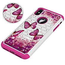 "iPhone XS Max Case,Dual Layer Shockproof Luxury Sparkle 3D Diamond Painted Series Hard PC+Soft Silicone Hybrid Impact Defender Case for Apple iPhone XS Max 6.5"" Red butterfly"