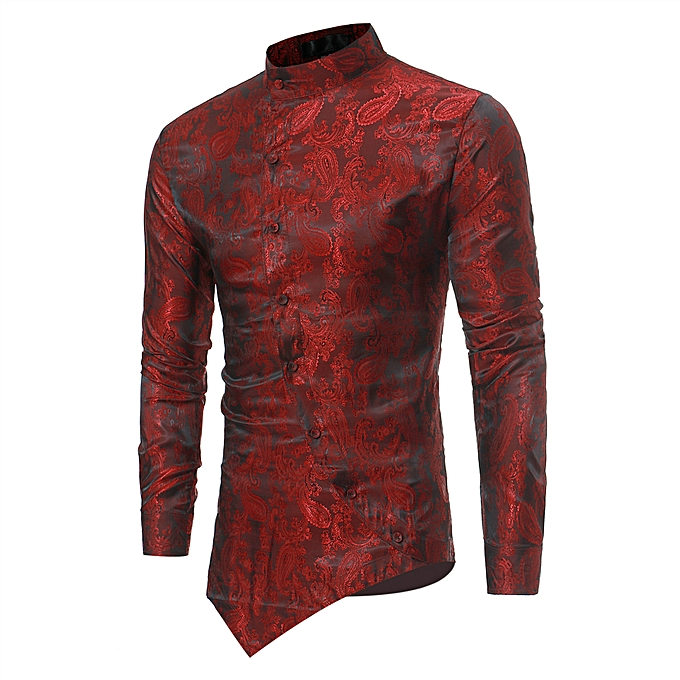 de19e08c7d68 AFankara Luxury Slim Fit Men Shirt Male Long Sleeve Shirts - Red ...