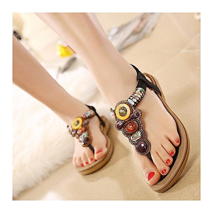 935b04bcd8f784 ... US Size 5-11 Women Summer Bohemian Outdoor Fashion Soft Comfortable  Beach Flat Sandals Shoes ...