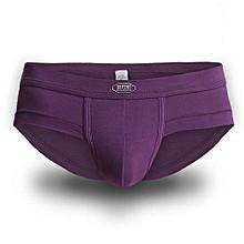 Modal Underwear Casual Sport Breathable Mid-Rise U Convex Pouch Briefs For Men Purple