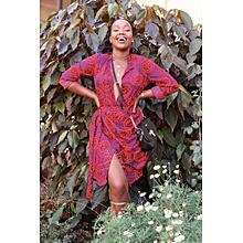 Red NALA Wrap Shirt Dress