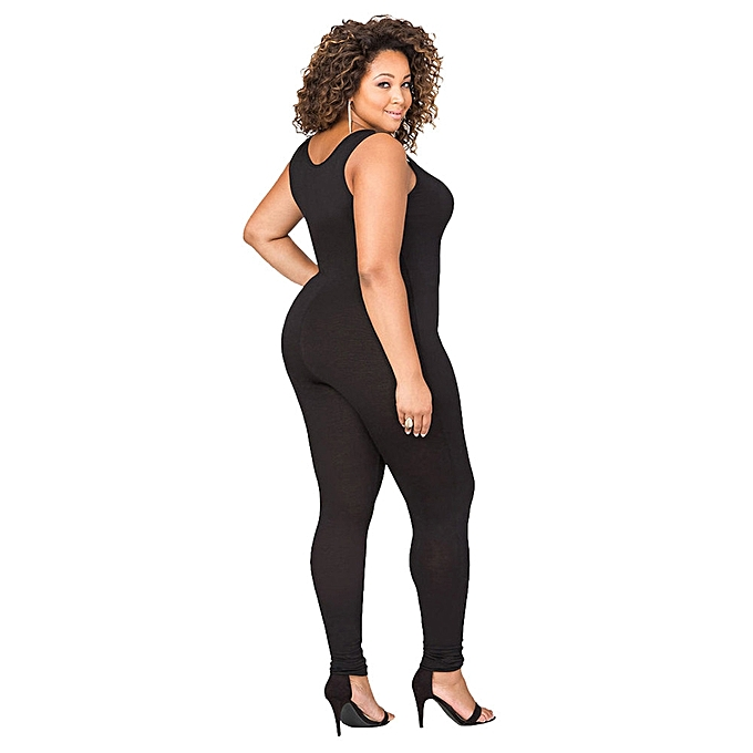 27e3afdec48 ... jiuhap store Sexy Women Plus Size Design Bandage Bodycon Sleeveless  Jumpsuit Bodysuit Clothes- Black ...