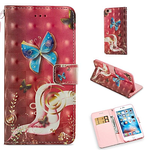 lowest price 7fc69 5b162 3D Cartoon Doodling Butterfly Owl PU Leather Wallet Case Cover for Apple  iPhone 6 Plus / 6S Plus