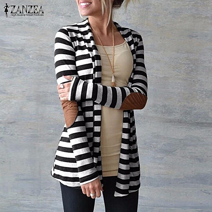a38fa3b2dc06 ZANZEA Oversized Fashion Women Autumn Striped Cotton Outwear Lady Long  Sleeve Patch work Slim Thin Cardigan