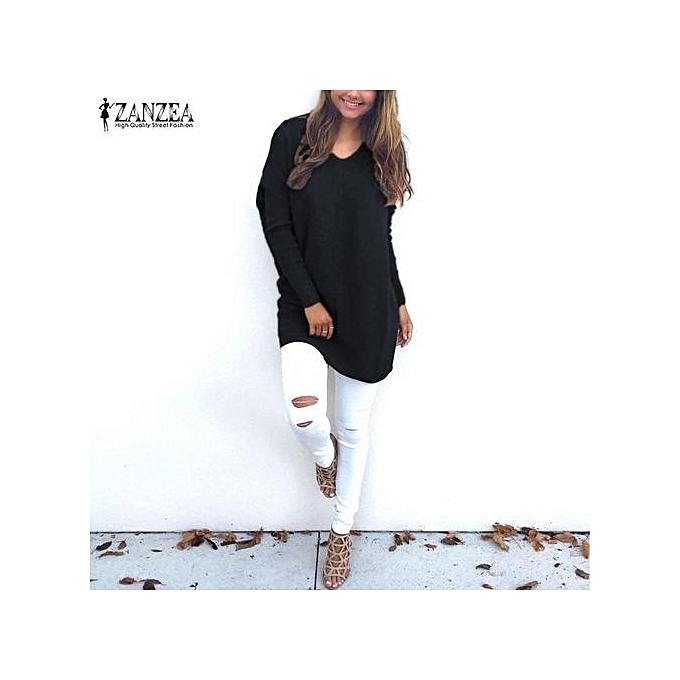 fa34723f61d ZANZEA Casual Blusas Women Knitted Sweater Loose Pullovers Tops Female  V-Neck Long Sleeve Thin