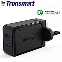 TRONSMART W2PTU 33W DUAL USB PORT WALL CHARGER QUALCOMM QUICK CHARGE 3.0 + USB C QTG-W
