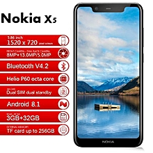 "Nokia X5 5.86""4GB RAM + 64GB ROM Android 8.1 Black/Blue"