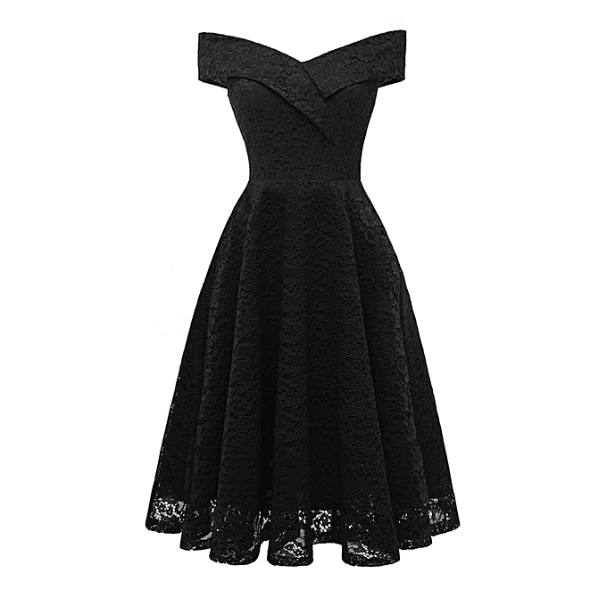 ae1b0018bb3 New Women Embroidery Vintage Lace Dress Off the Shoulder Short Sleeve  Casual Evening Elegant Princess Party Dress