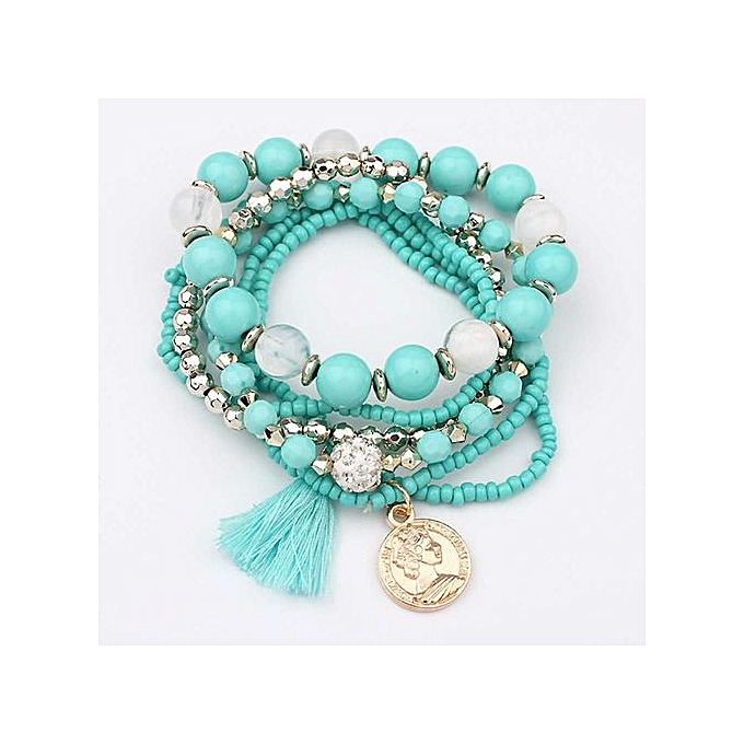 609b4011a438b Women Multilayer Beads Bangle Tassels Bracelets Light Blue- Light Blue