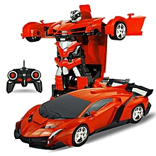 DSstyles One-key Deformation Robot Toy Transformation Electric Car Model with Remote Controller Style:1:18 Orange