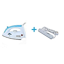 Non-Stick Steam Iron Box Plus Free Heavy Duty Power Extension