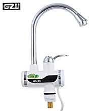 Tankless Electric Hot Water Heater Faucet Kitchen Accessories With LED Digital Display EU PLUG Big Under Inflow 1 - Silver
