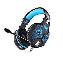 Headphone Gaming, G1100 Stereo Gaming Headphone with Breathing LED Lights Vibration(Black Blue)