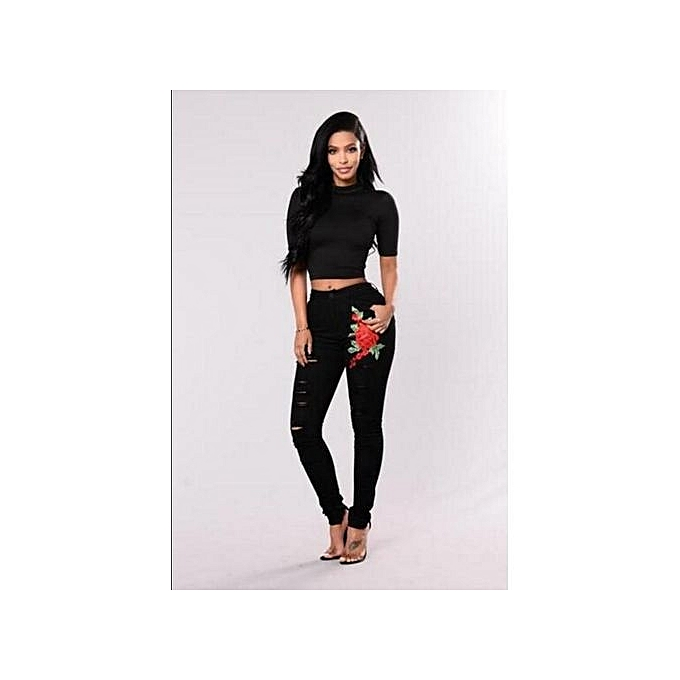 3d6965d6cef Comfortable Plus Size Flower Patch Ripped Jeans Great Stretch Fashion High  Waist Pants Shaping High Rise