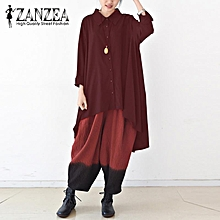 ZANZEA Oversized Women Autumn Asymmetric Hem Turn-Down Collar Long Sleeve Buttons Solid Shirt White Baggy Casual Blouse Blusas Wine Red