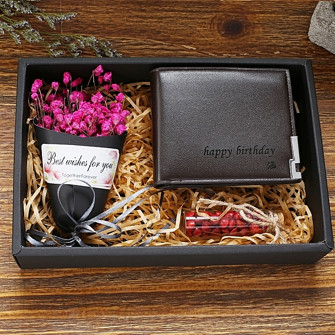 Lettering Brown Wallet Gift Box Rose Red StarTanabata Valentines Day Birthday