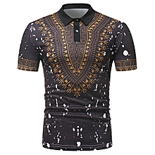 0f3b9f056861 Men African Print Pullover Short Sleeve Summer Casual Shirt - Black