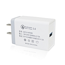 Minismile 18W Universal Travel QC3.0 Quick Charge Power Adapter Wall Charger US Plug WHITE AND GREY