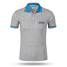 Best Sale Fashion Casual Men's Summer Breathable Short Sleeves Polo Shirts-Grey