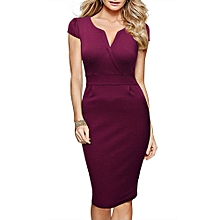 Women's Retro Bodycon Pencil Dress - Purple