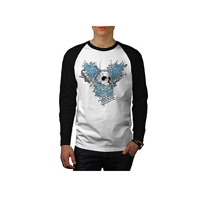 b037e919e ... Streetwear T Shirt White Long Sleeve · Hell Heaven Skull Jaw Angel Wing  Men NEW White (Black Sleeves) S-3XL