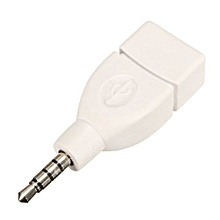 New 3.5mm Male AUX Audio Plug Jack To USB 2.0 Female Converter Adapter Plug White