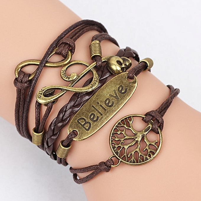 New Charm Leather Infinity Braid Bracelet With Believe Peace Tree Note Pendant Multi Layer