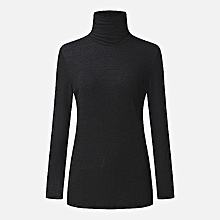 ZANZEA New Women Slim Turtleneck Long Sleeve Sweaters Knitted Tops Fashion Long Sleeve Plus Size Pull Femme Jumpers Dark Black