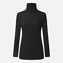 ZANZEA New Women Slim Turtleneck Long Sleeve Sweaters Knitted Tops Fashion Long Sleeve Plus Size Pull Femme Jumpers Dark Black