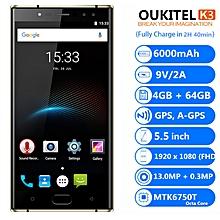 K3 5.5 inch 4G Phablet 4GB RAM 64GB ROM 6000mAh - black
