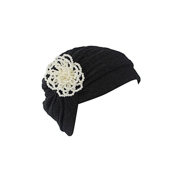 08ce25da Seioure Women India Muslim Stretch Pearl Floral Turban Hat Head Scarf Wrap  Cap As Shown